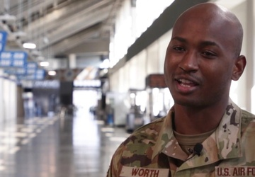 U.S. Airman 1st Class Montrell Worth describes his role at the ford Field Community Vaccination Center
