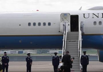 First lady Jill Biden arrives at Sumpter Smith Flight Line (broll)