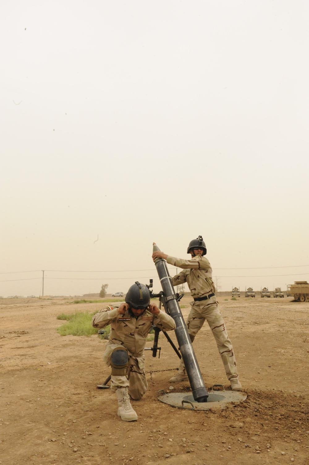 120 mm mortar training at Camp Taji