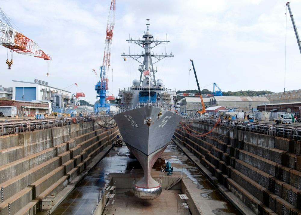 USS McCain drydocks in Japan