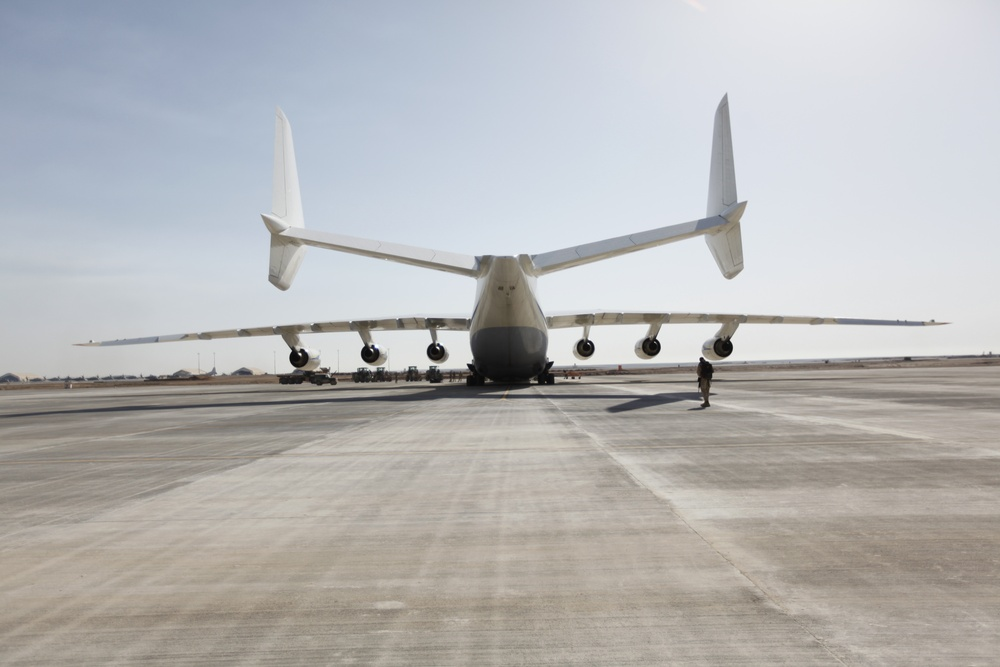 Antonov An-225 touches down at Camp Bastion, Afghanistan