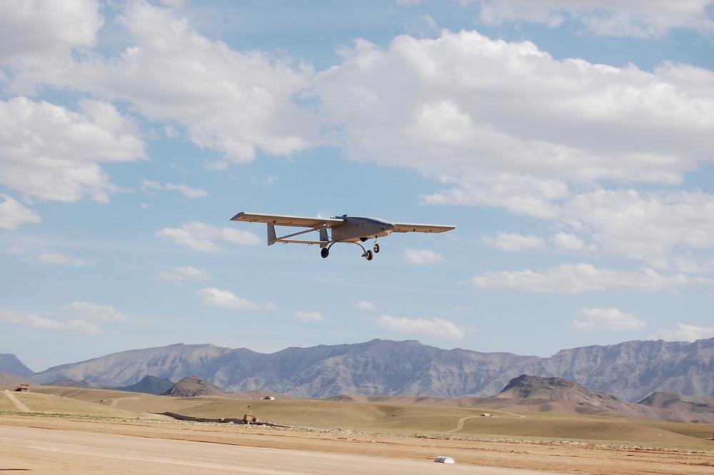 Tiger Shark UAV returns from mission