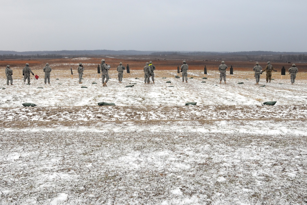 Texas National Guardsmen at the range in Indiana