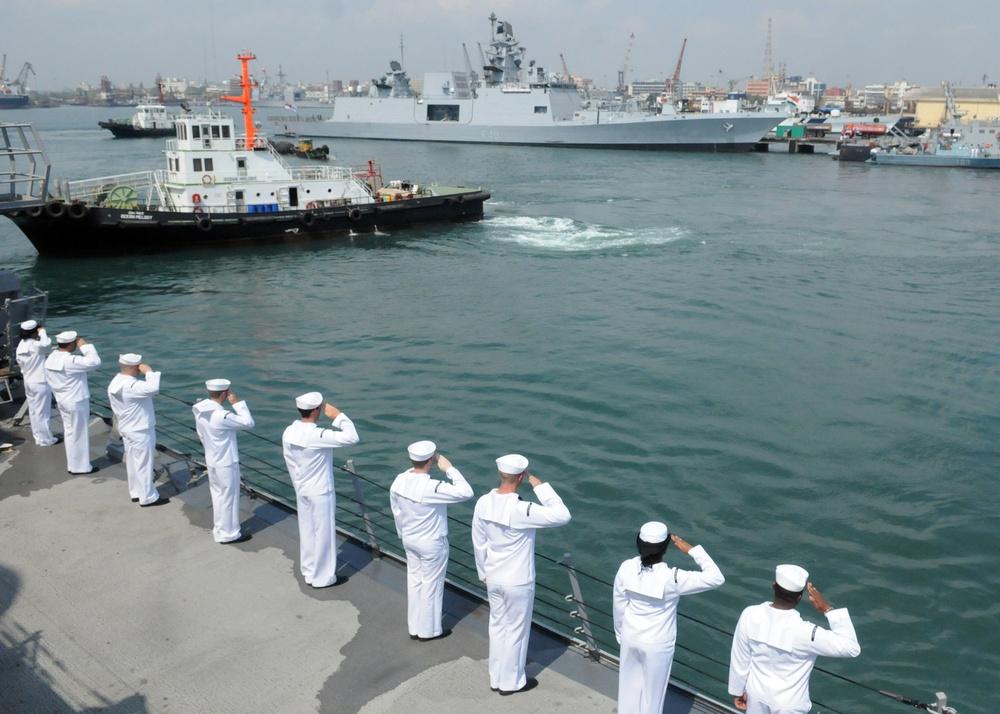 Saluting an Indian navy ship