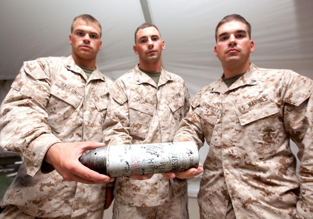 PHOTO RE-UPLOADED: Memorial mortar for fallen Marine begins long journey home