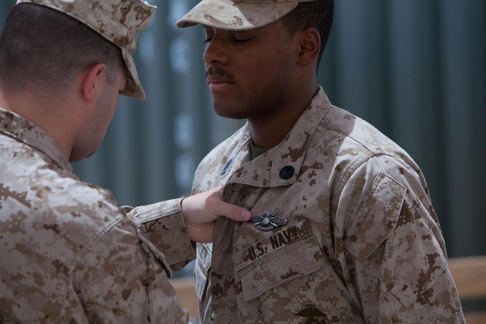 Sailors earn Fleet Marine Force pins aboard Camp Dwyer