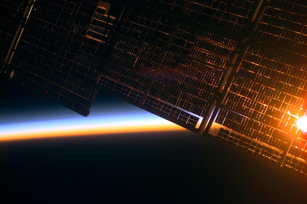 Solar array at sunrise