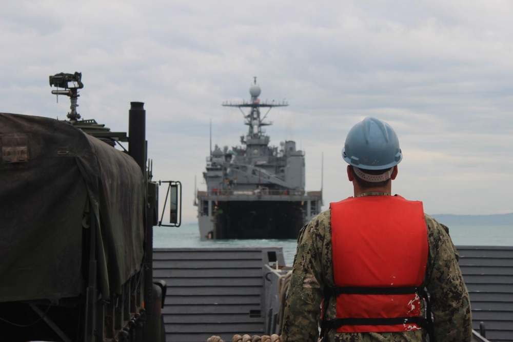 USS Fort McHenry departs Durres, Albania