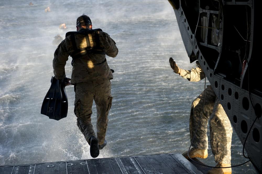 Green Berets practice helocast