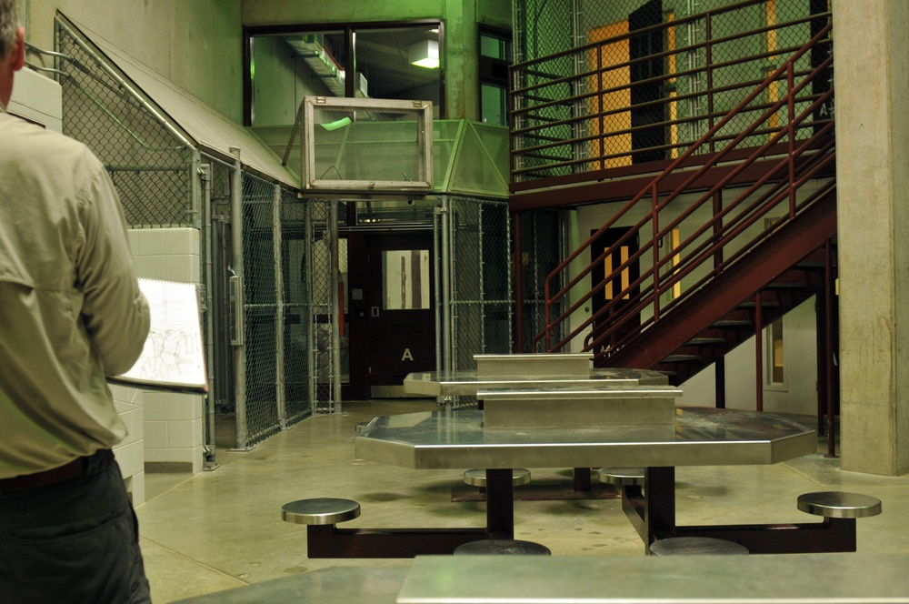 Communal living cell block inside Camp VI Detention Facility