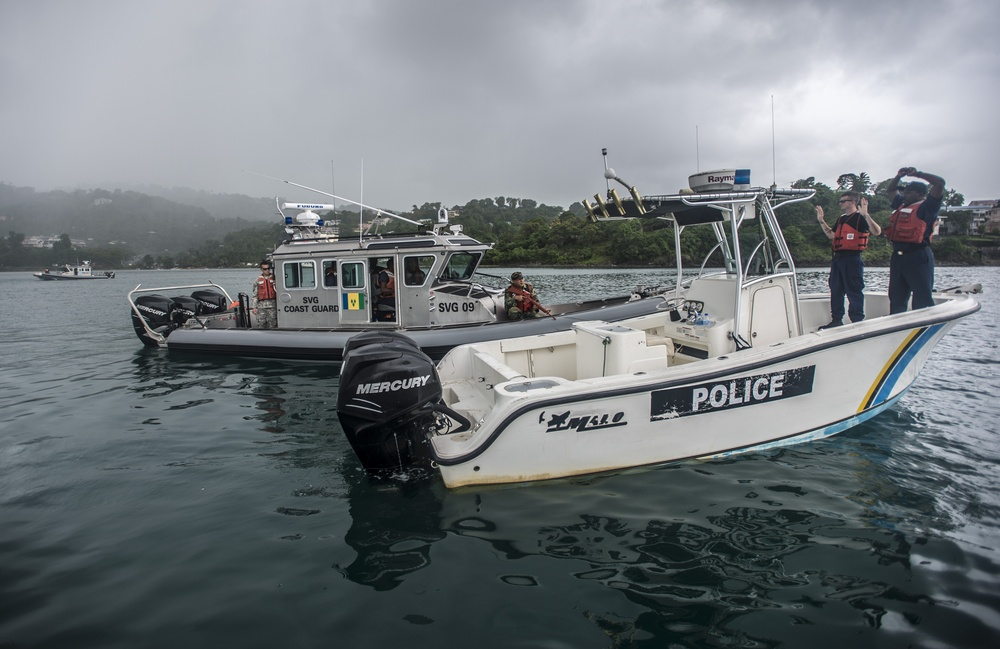Opposing force drills near the Port of Castries in Saint Lucia