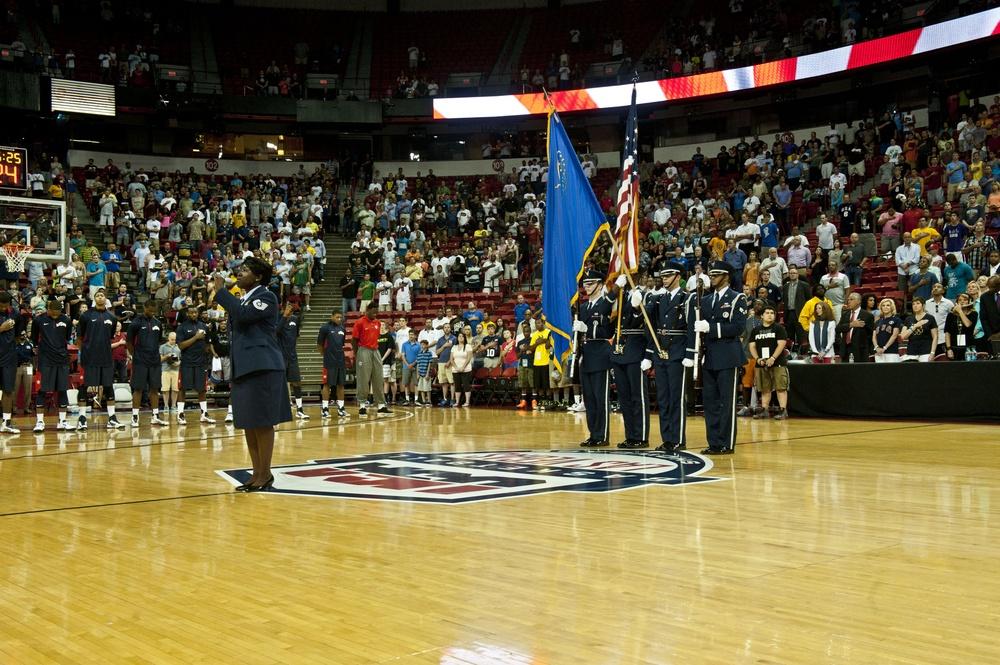 USA Basketball recognizes airmen during Blue vs. White game