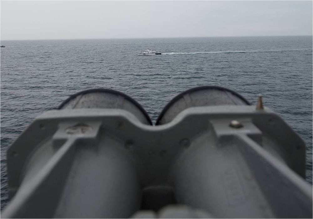 USS Bulkeley maneuvers With Georgia Coast Guard ship