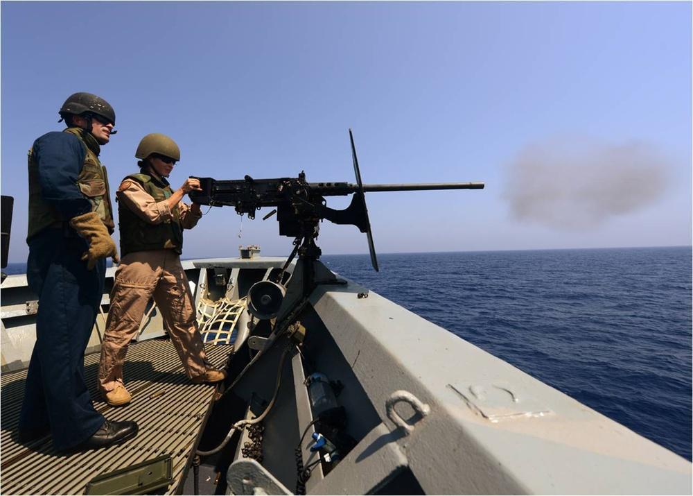 Weapons training aboard USS Gettysburg