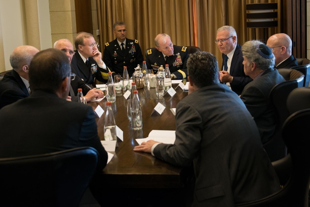 Gen. Martin E. Dempsey meets with senior members of the Institute for National Security Studies in Jerusalem