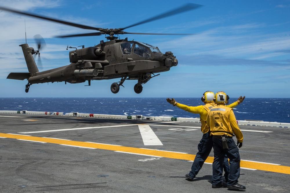 AH-64E landing qualifications on USS Peleliu, RIMPAC 2014