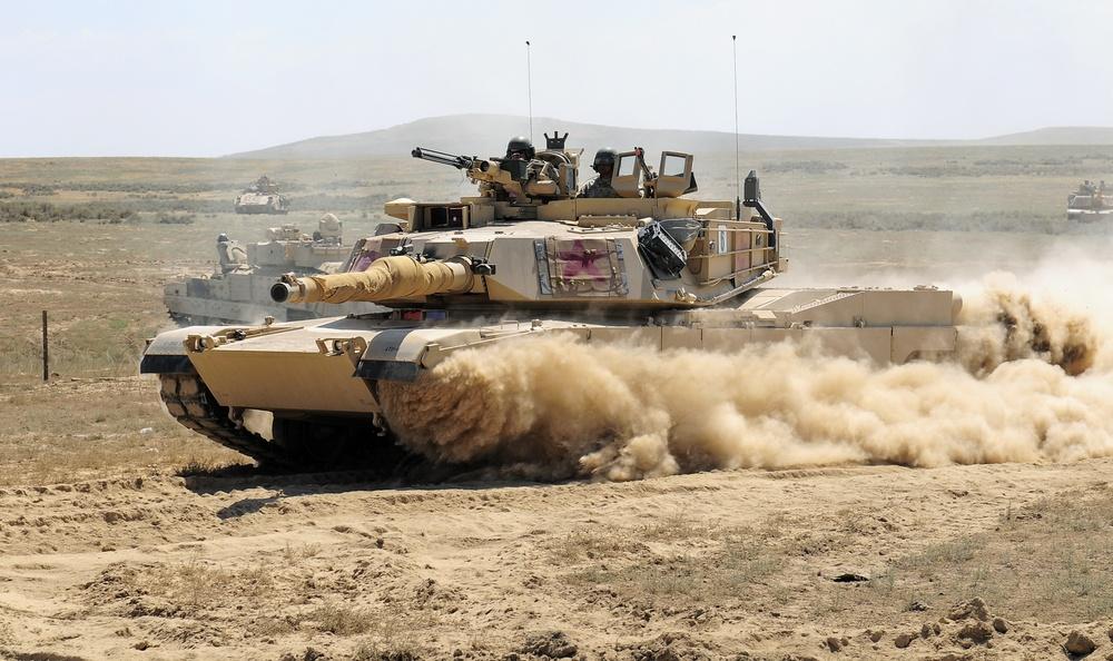 Abrams kicks up dust