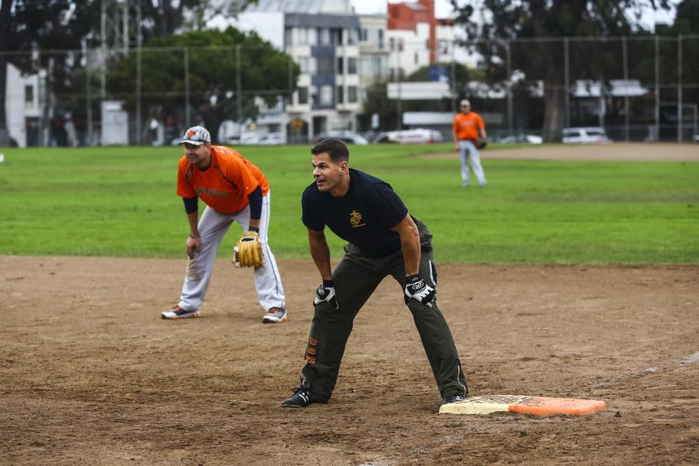 Marines play softball against San Francisco Police Department