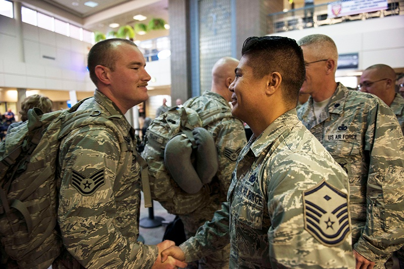 Security Forces Airmen return from deployment to CENTCOM