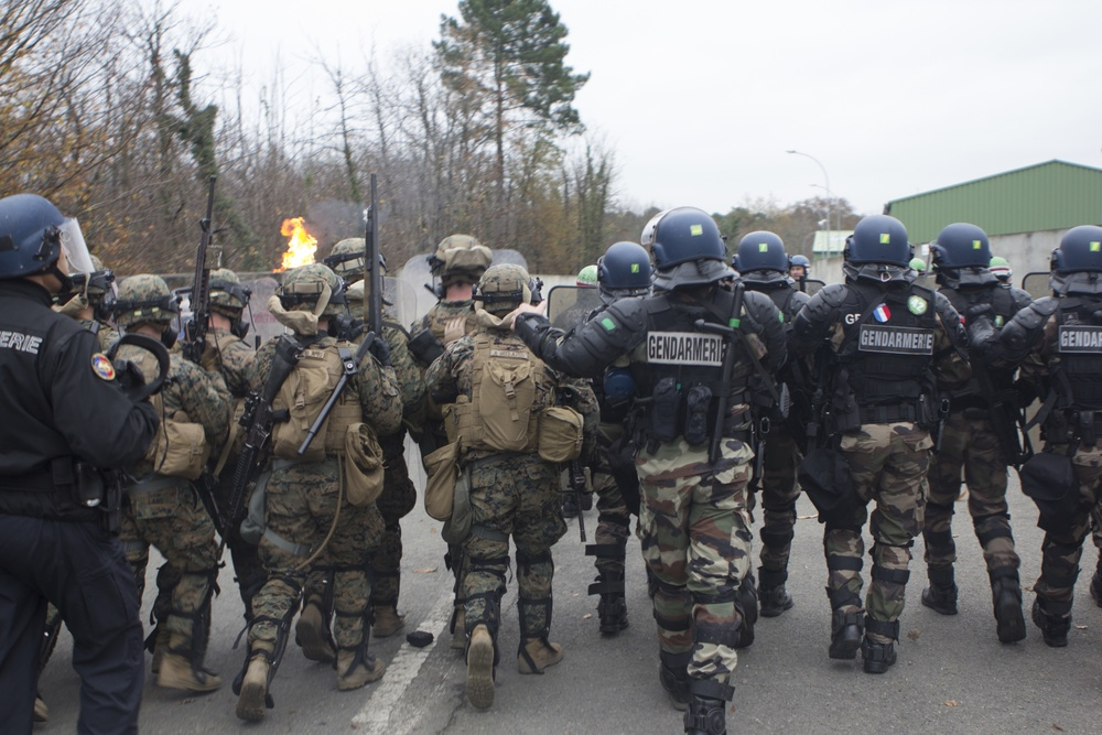 U.S. Marines, French Gendarmes conduct crowd and riot control training