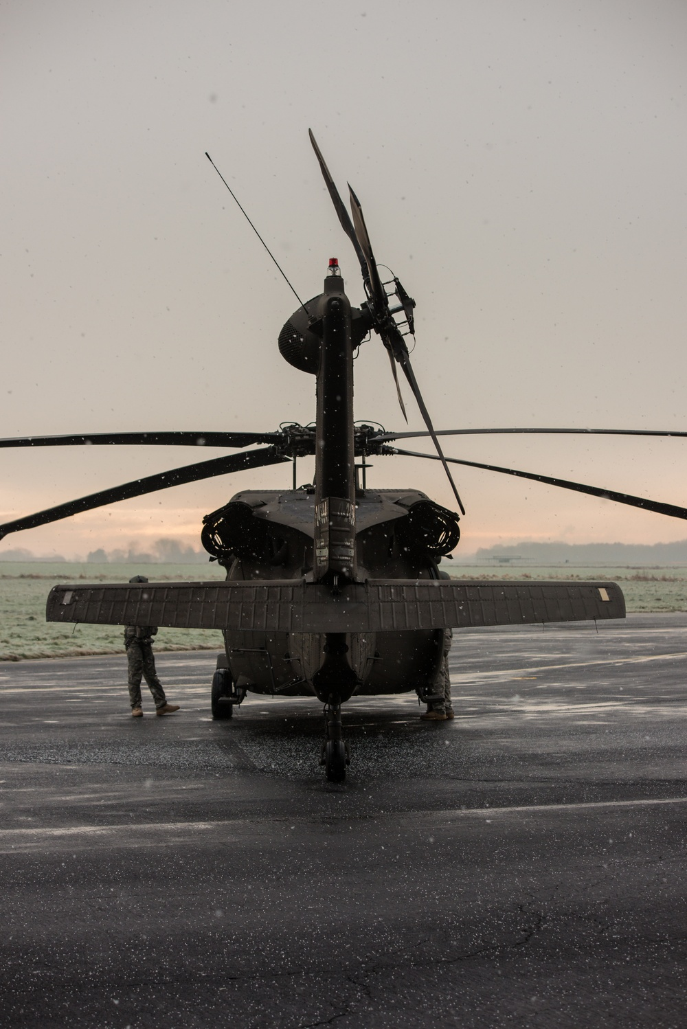 Rear view of a UH-60A Black Hawk helicopter