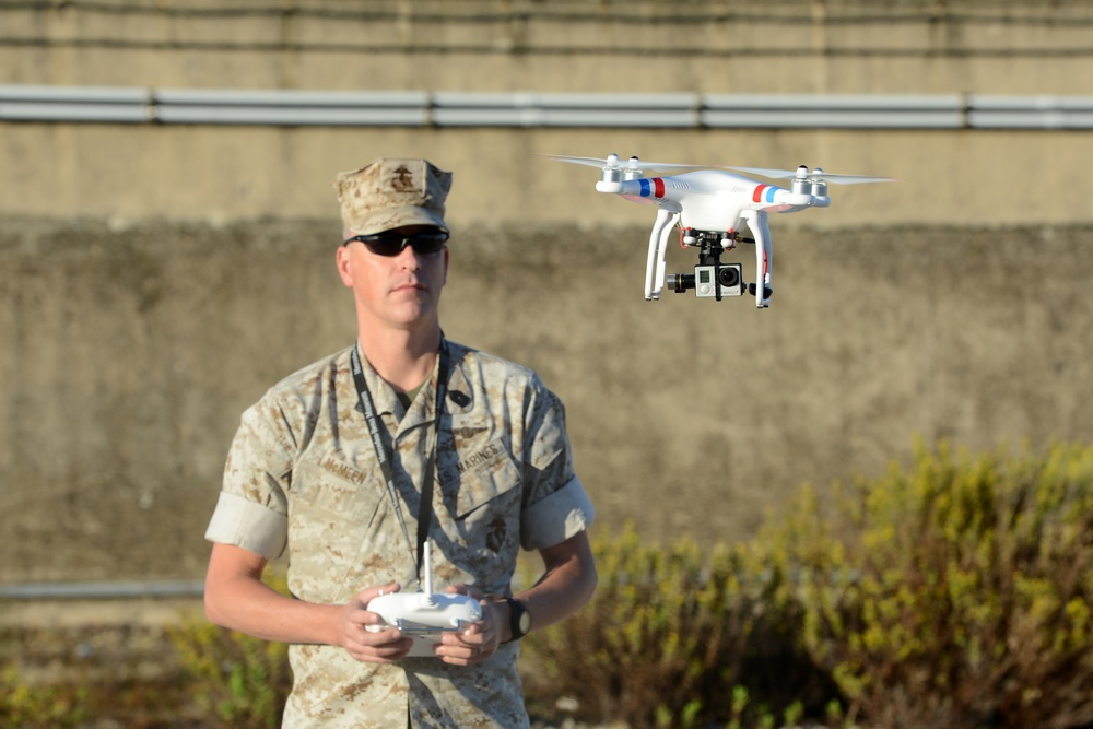 US Marine master sergeant flies a Quadcopter in Rota, Spain