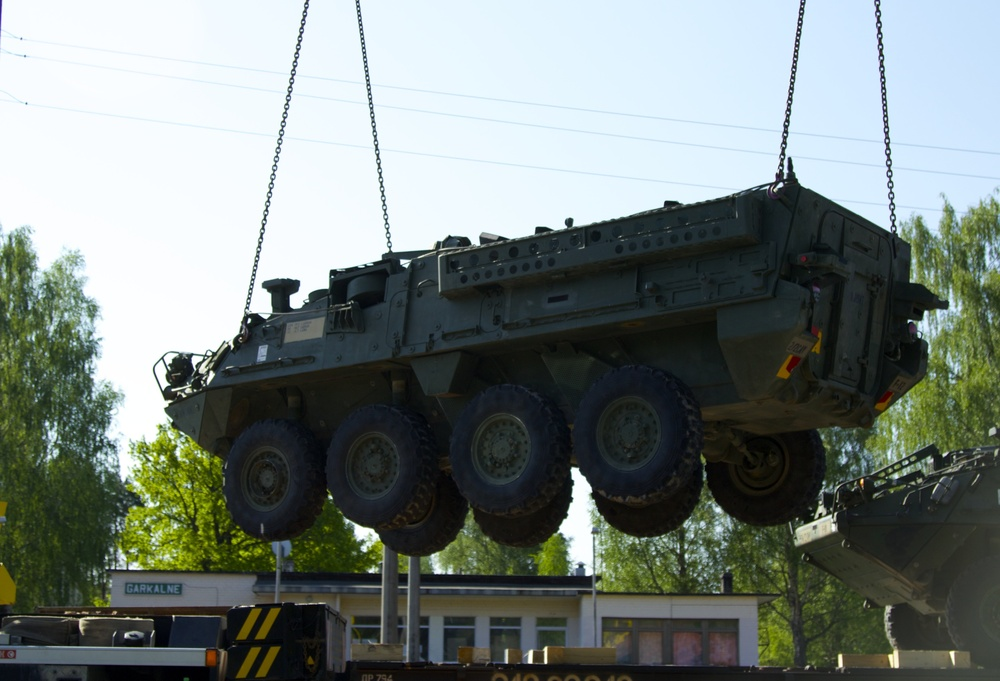 2nd Squadron, 2nd Cavalry Regiment Strykers arrive in Latvia