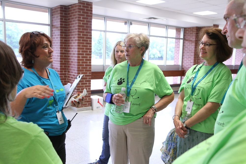 Jackie Leaf with Seven Valleys Health Coalition organizes volunteers during Healthy Cortland IRT