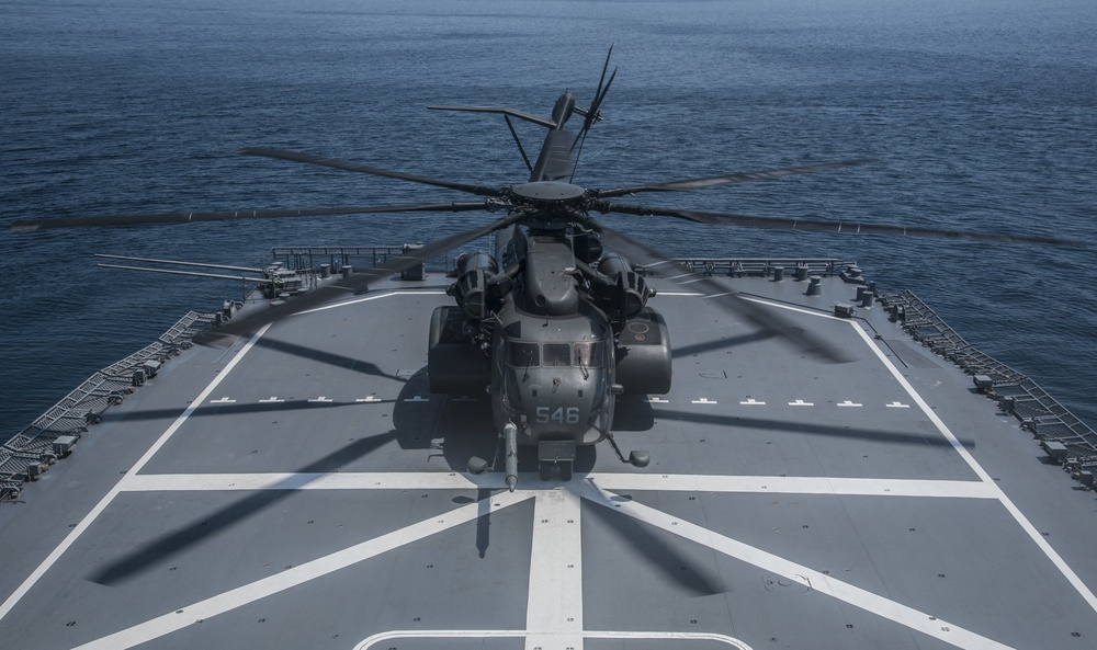 Helicopter on minesweeper