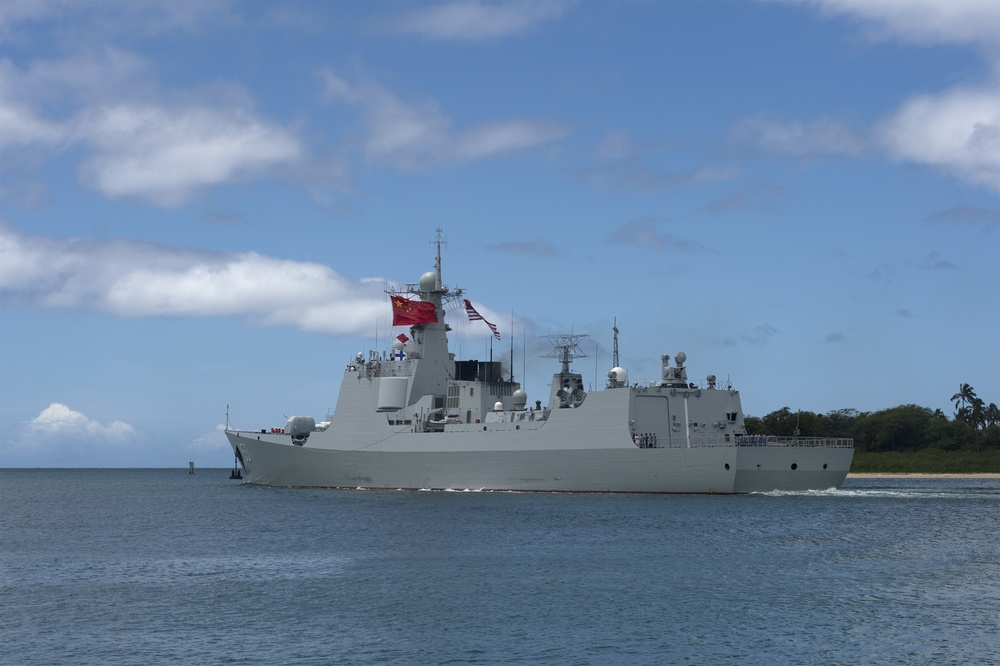 Chinese Navy Guided-Missile Destroyer Xian (153) Departs Joint Base Pearl Harbor-Hickam Following the Conclusion of RIMPAC 2016