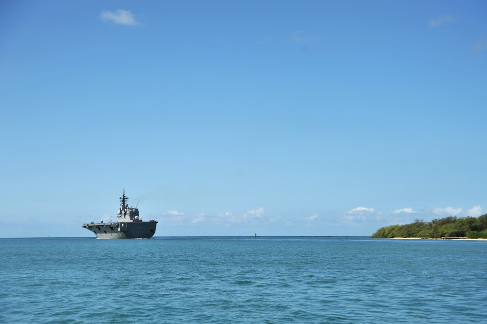 Japan Maritime Self-Defense Force Destroyer Helicopter Ship JS Hyuga (DDH 181) Departs Joint Base Pearl Harbor-Hickam Following the Conclusion of RIMPAC 2016