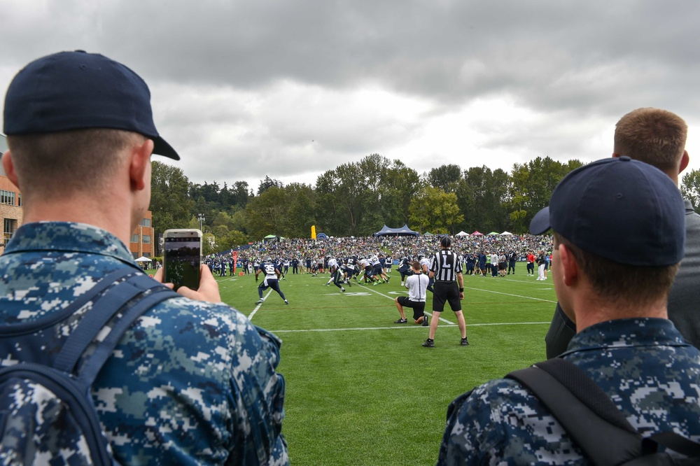 Naval Base Kitsap Sailors Attend Seahawk's Training Camp