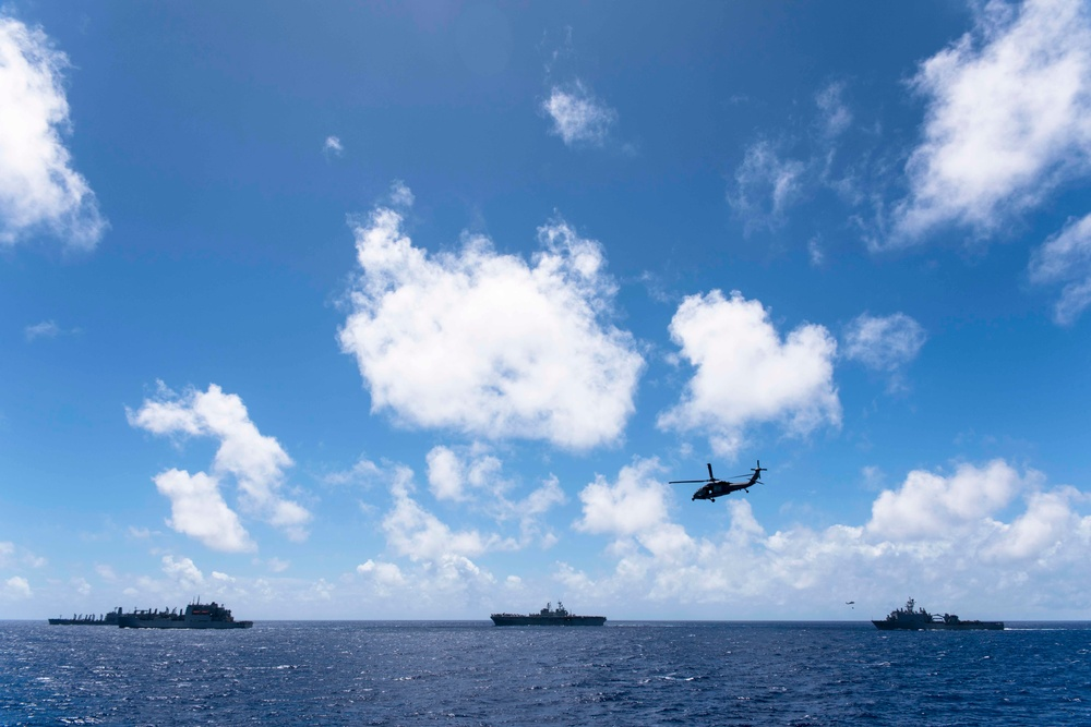 Green Bay and the Bonhomme Richard Expeditionary Strike Group Conduct a Replenishment at Sea