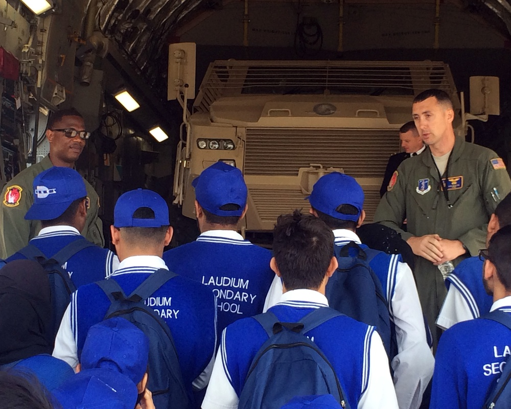 New York National Guard Airmen talk to students at Africa Aerospace and Defense Airshow