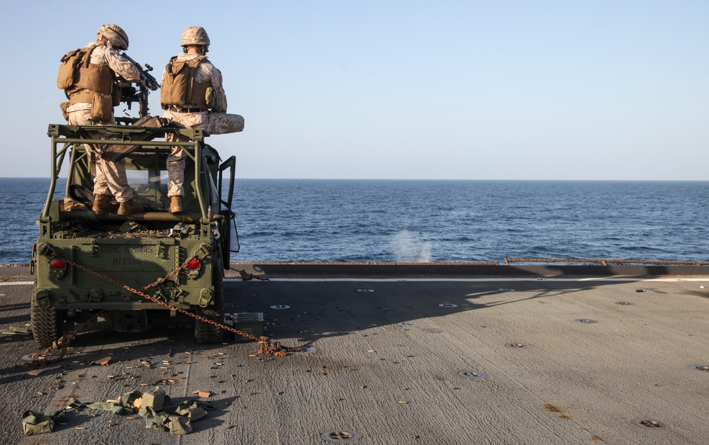 22 MEU Marines Fire Crew Served Weapons aboard the USS Whidbey Island (LSD 41)