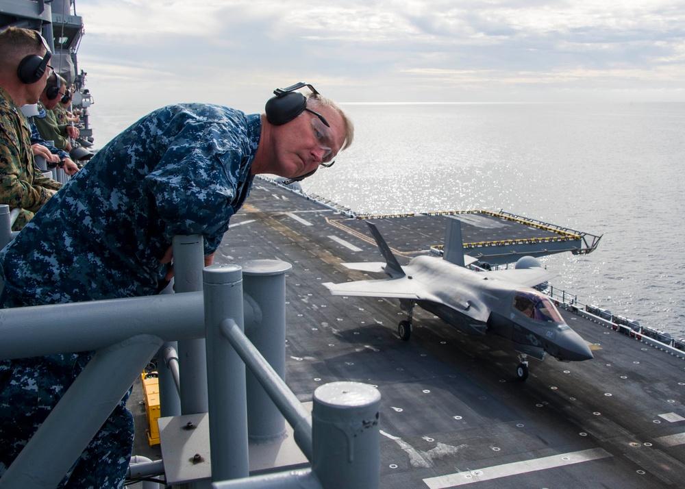F-35B Lightning II Aircraft land aboard USS America for Developmental Test Phase III
