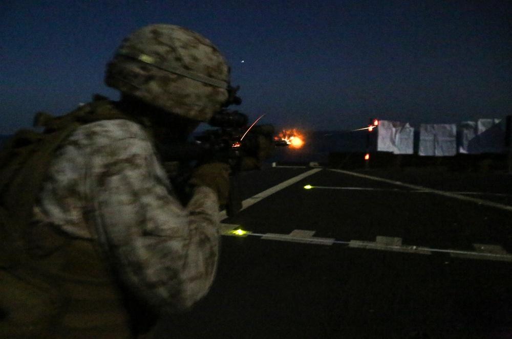 BLT, 22nd MEU Conducts Night Combat Marksmanship aboard USS Whidbey Island