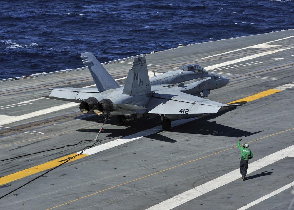 F/A-18C Hornet lands on Nimitz