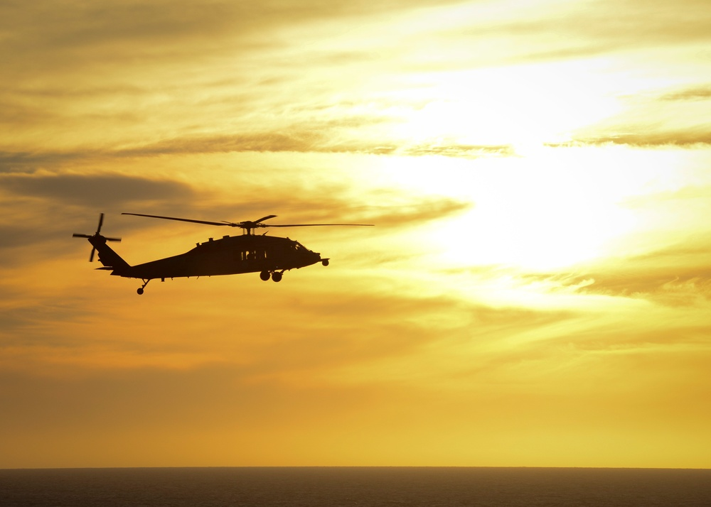 Helicopter patrols the pacific