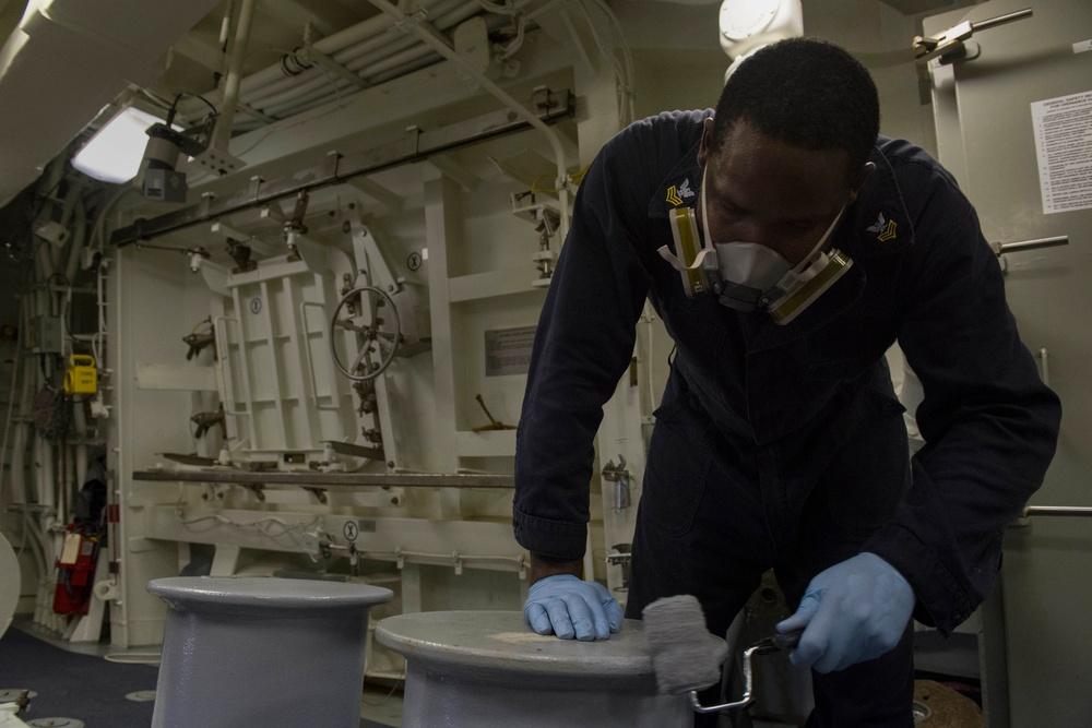 Sailors conduct routine preservation aboard USS Zumwalt