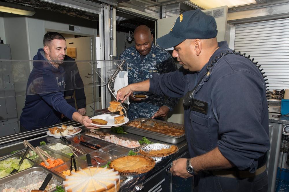 USS Coronado (LCS 4) celebrates Thanksgiving while deployed.