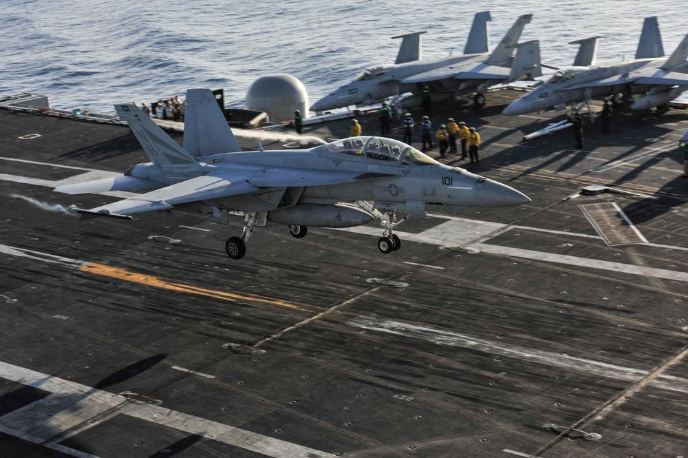 F/A-18F Super Hornet lands