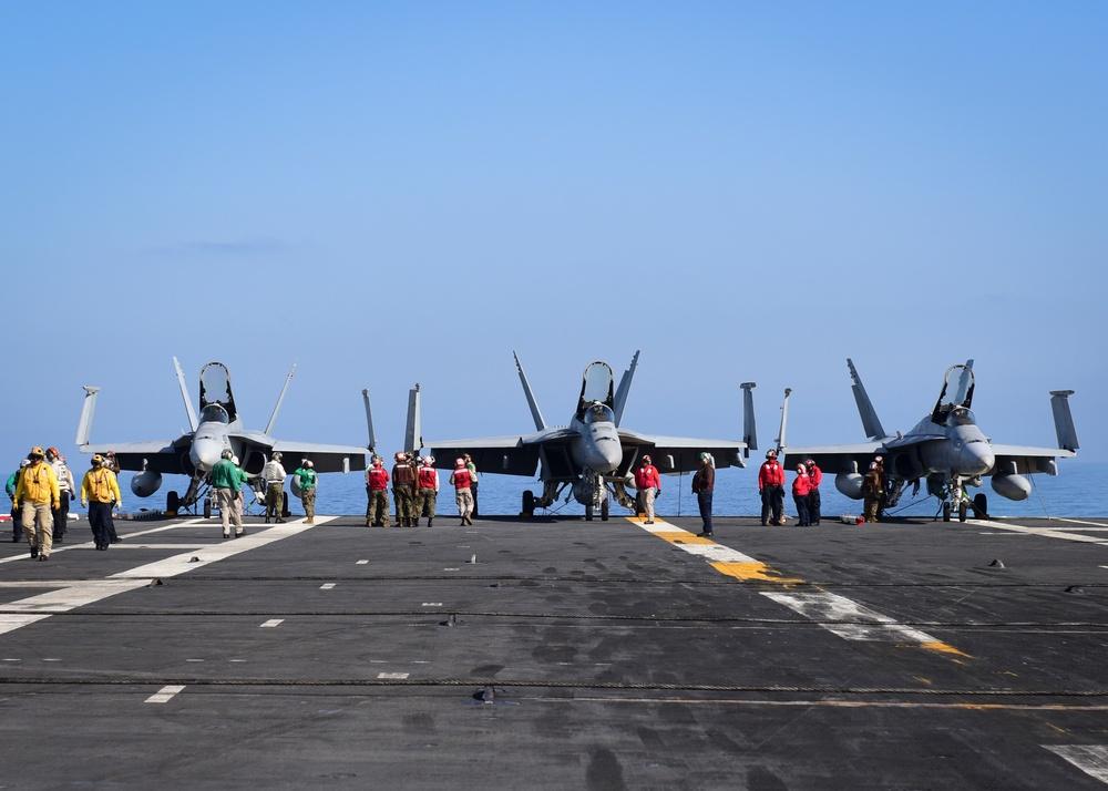 Sailors prepare for flight operations