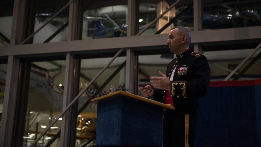 "Retired Col. Randy ""Komrade"" Bresnik speaks at a Marine Corps Birthday Ball"