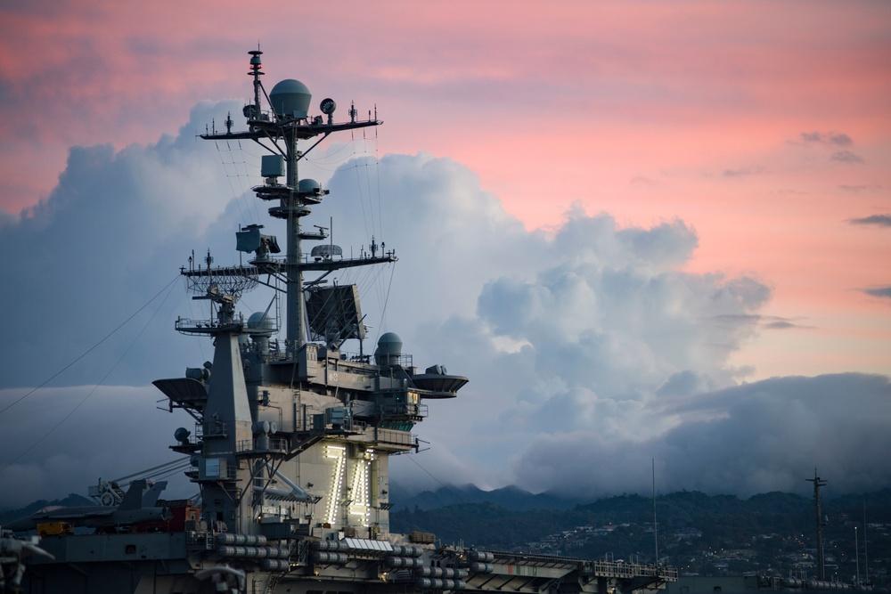 USS Stennis During Hawaiian Sunrise