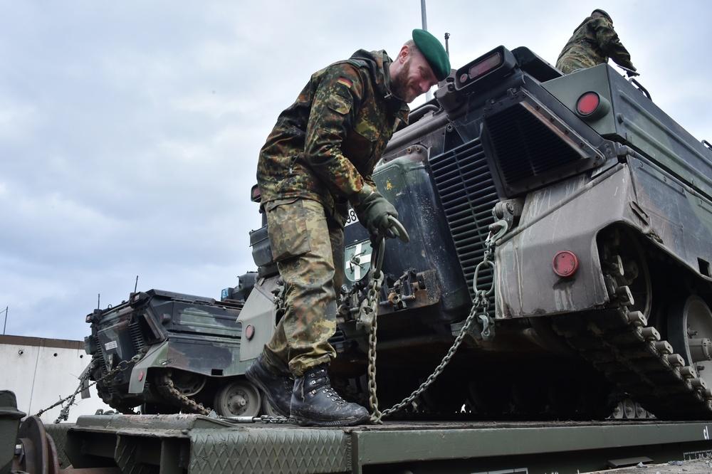 German Army railhead operations for NATO's Enhanced Forward Presence