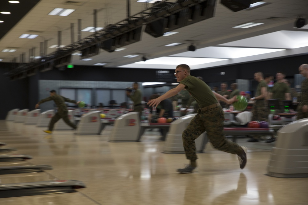 Iwakuni's Active-Duty Fund Drive bowls for a strike
