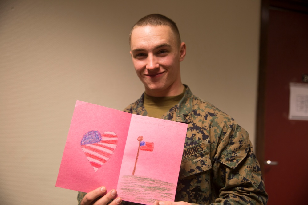 Marine Rotational Force Europe 17.1 Receives Valentine's Day cards