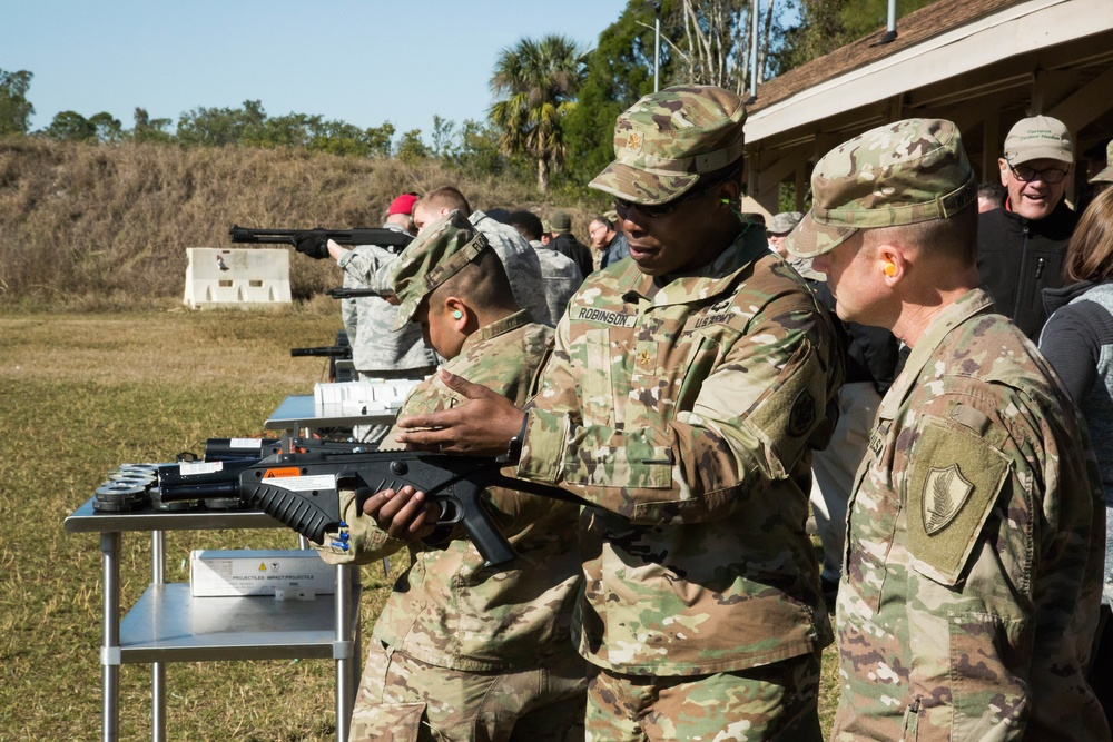 Non-lethal weapons on display at MacDill AFB range
