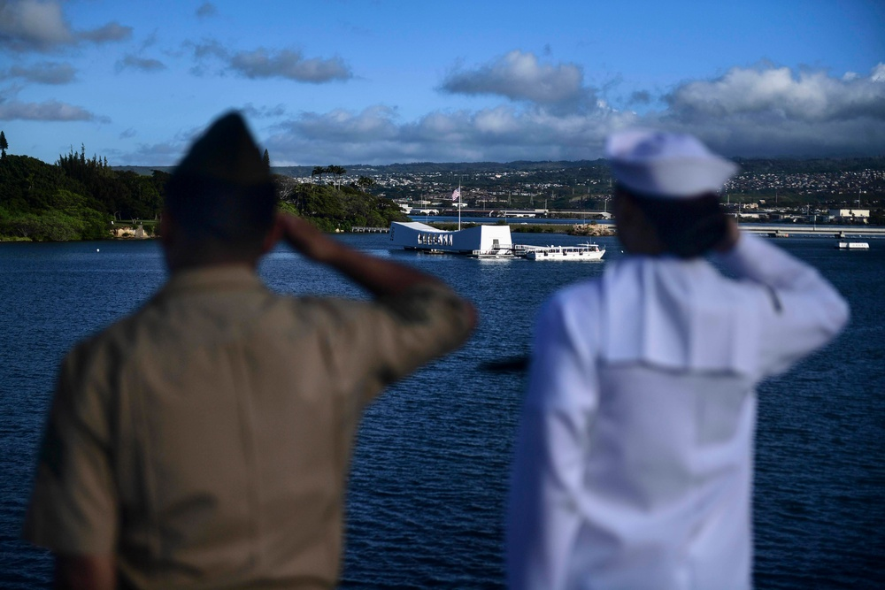 USS San Diego (LPD 22) Sailors and Marines Render Honors to the Arizona Memorial